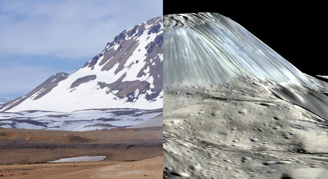 Left: Hlíðarfjall dome, Iceland. Right: Ahuna Mons on Ceres.