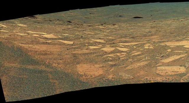 Opportunity's view of its target down the slope of Endurance Crater.