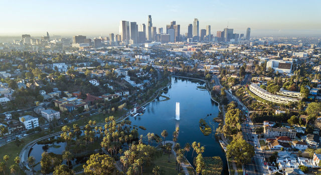 Echo Park Lake with Downtown Los Angeles skyline in the background