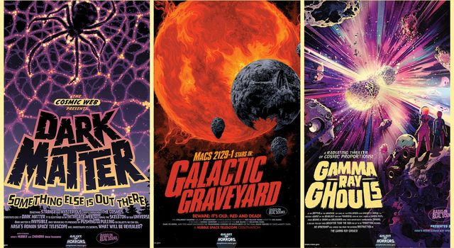 These NASA posters put an artistic spin on real cosmic phenomena. Done in the style of scary movie advertisements, they are free to download.
