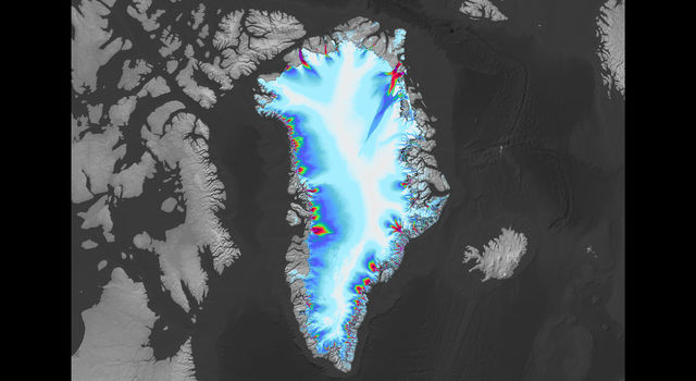 The coloring around the coast of Greenland shows the speed of outlet glaciers flowing into the ocean
