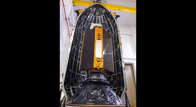 The Sentinel-6 Michael Freilich satellite is encapsulated in a protective nosecone at Vandenberg Air Force Base in California