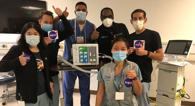 On May 28, 2020, UCLA's Dr. Tisha Wang (far left) and colleagues pose after testing a compressed-air version of the VITAL prototype