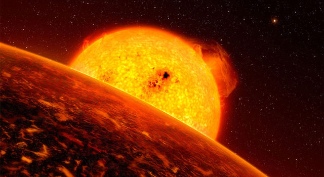 Molten exoplanet CoRoT-7b is a good analog for the Star Wars sizzling lava planet Mustafar.