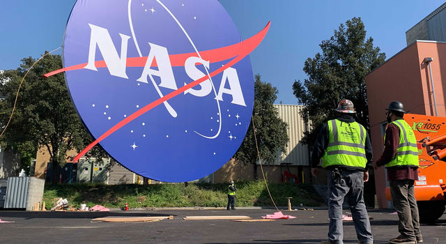 The 30-foot NASA logo, nicknamed