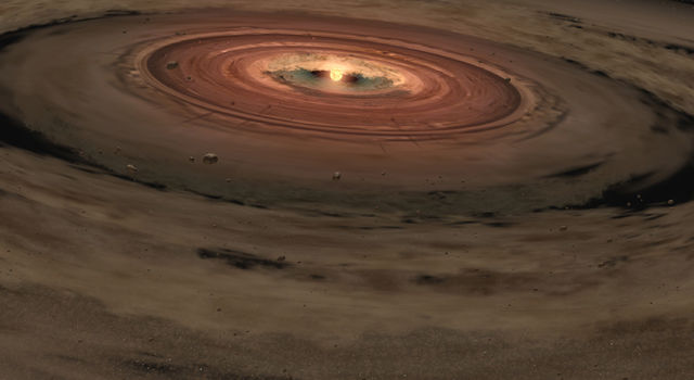 Artist concept ofyoung star encircled by a disk of gas and dust.