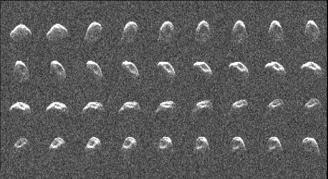 A radar image of asteroid 2010 JL33, generated from data taken by NASA's Goldstone Solar System Radar on Dec. 11 and 12, 2010.