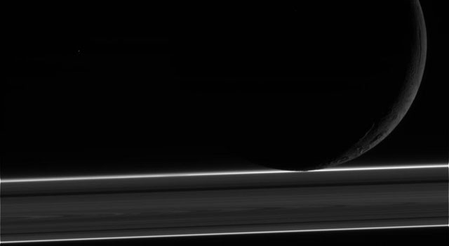 NASA's Cassini spacecraft obtained this unprocessed image of Enceladus
