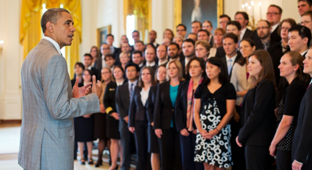 President Barack Obama addresses 2011 Presidential Early Career Awards for Scientists and Engineers (PECASE) recipients in the East Room of the White House, July 31, 2012