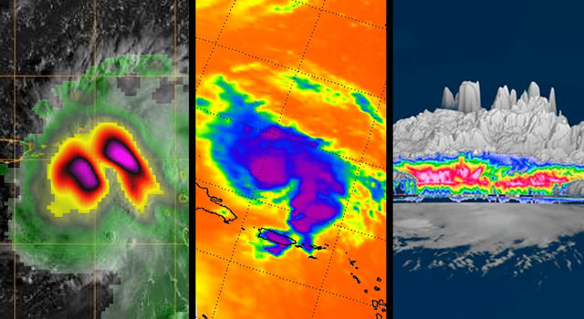 A triptych of three different views of Hurricane Dorian.
