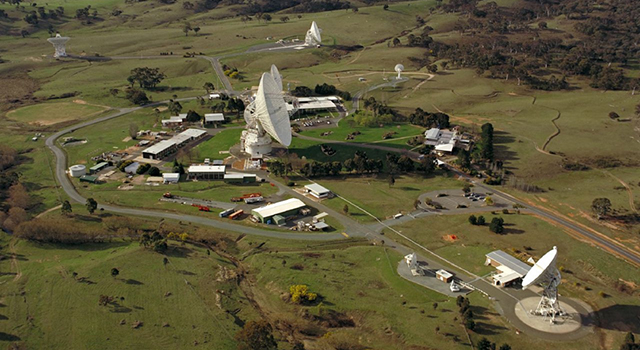 This aerial photo shows the NASA Deep Space Network complex outside of Canberra, Australia in 1997