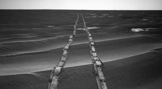 NASA's Opportunity Rover looks back over its own tracks