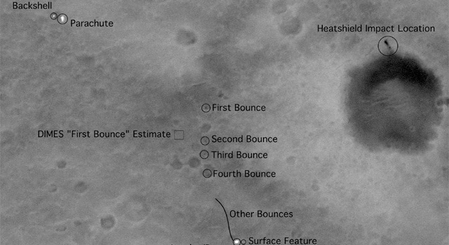Part of image showing Spirit's landing pattern