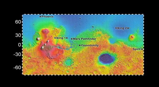 map showing Phoenix and other Mars lander locations