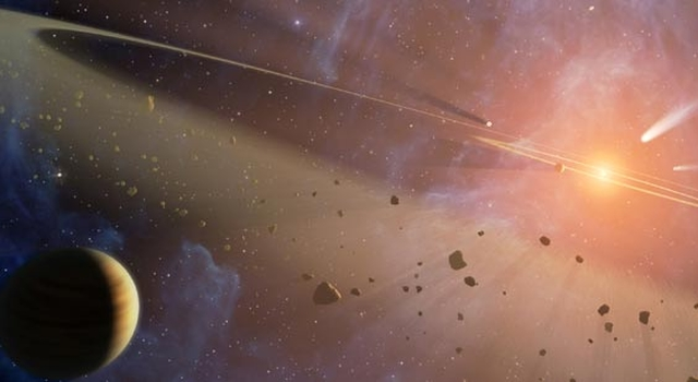 Artist concept of a dual asteroid belt