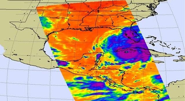 Infrared view of Hurricane Gustav