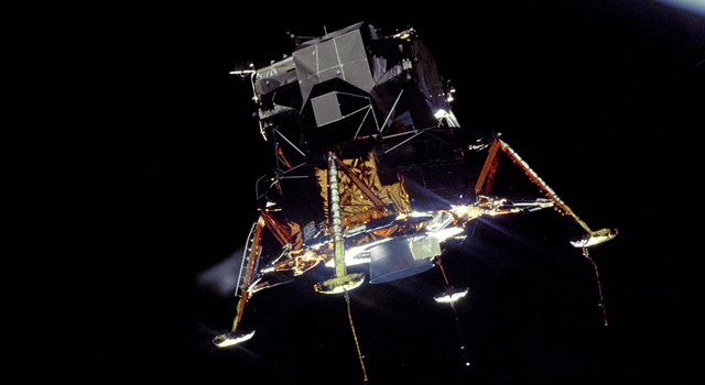 Artist's concept of the 'ALTAIR' lunar lander on the surface of the moon.