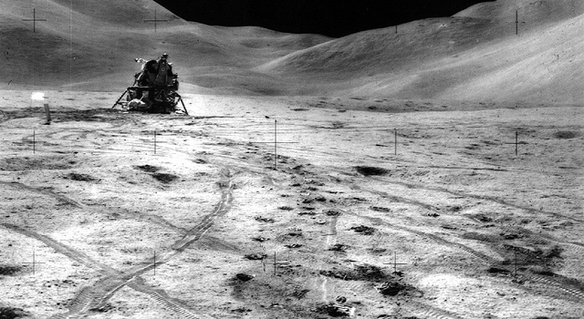 The Apollo 15 lunar module 'Falcon' with the moon's Apennine Mountain Range in the background.