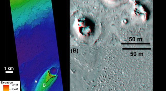 This combination of images helped researchers analyze the youngest flood lava on Mars, which is in Athabasca Valles, in the Elysium Planitia region of equatorial Mars.