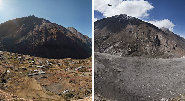 Before-and-after photographs of Nepal's Langtang Valley