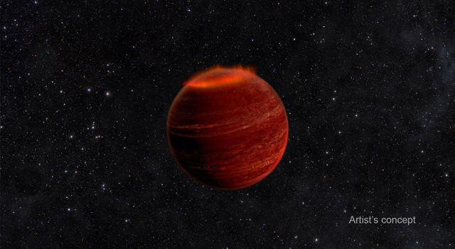 This artist's concept shows an auroral display on a brown dwarf