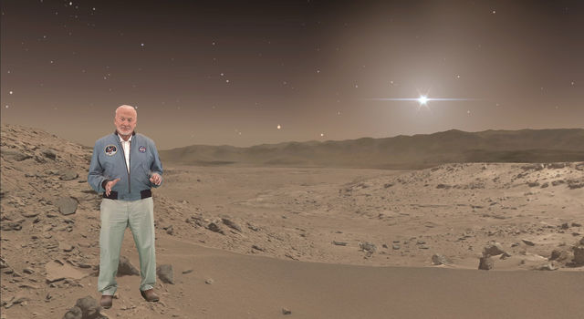 Buzz Aldrin, an Apollo 11 astronaut who walked on the moon, makes a holographic appearance in 'Destination: Mars,'