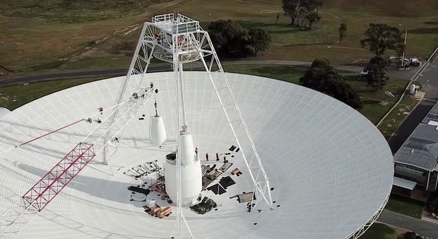 Crews conduct critical upgrades and repairs to the 70-meter-wide (230-foot-wide) radio antenna Deep Space Station 43 in Canberra, Australia