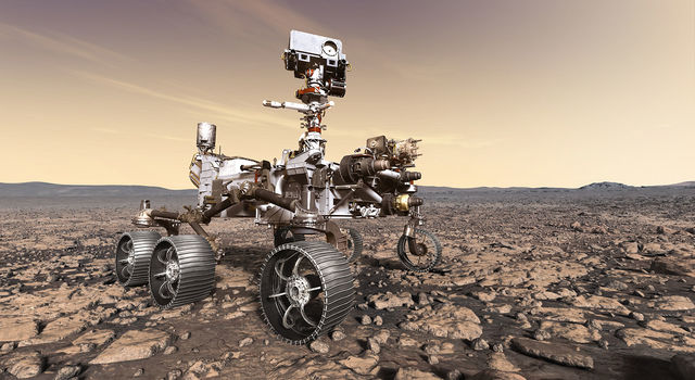 NASA's Perseverance Mars rover has two wind sensors just below its mast, or 'head'.