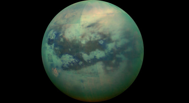 This composite image shows an infrared view of Saturn's moon Titan from NASA's Cassini spacecraft, captured in 2015