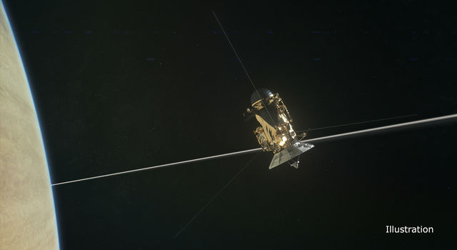 Illustration: Cassini flys by Saturn
