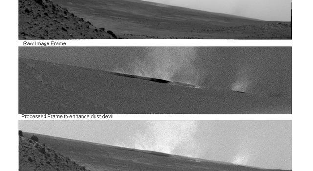 Researchers used the navigation camera on NASA's Mars Exploration Rover Spirit to look for dust devils near the rover during the mission's 1,919th Martian day