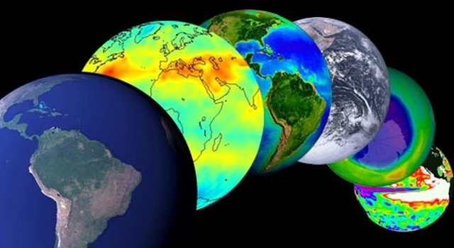 montage of global views of Earth
