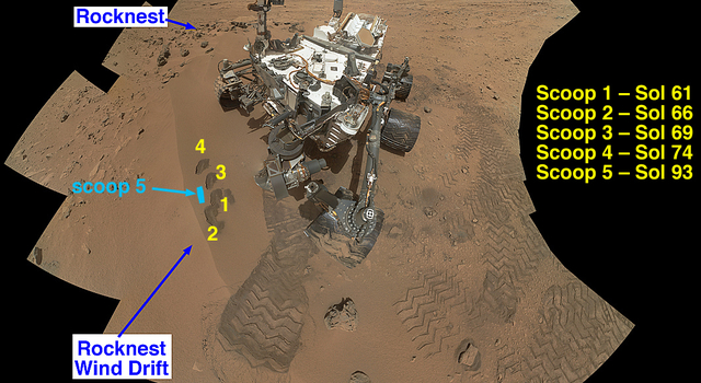 NASA's Curiosity Mars rover documented itself in the context of its work site, an area called 'Rocknest Wind Drift,' on the 84th Martian day, or sol, of its mission (Oct. 31, 2012).