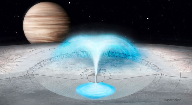 This illustration of Jupiter's icy moon Europa depicts a cryovolcanic eruption in which brine from within the icy shell could blast into space