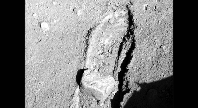 Rock moved by Mars lander