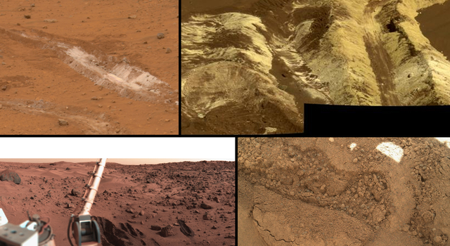 This collage shows the variety of soils found at landing sites on Mars