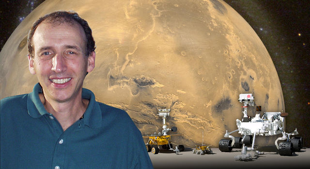 JPL scientist Matt Golombek at launch pad for NASA's Mars Exploration Rover Spirit.