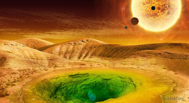 Artist's conception of what life could look like on the surface of a distant planet