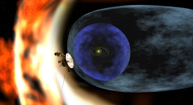 artist concept of Voyager and our solar system