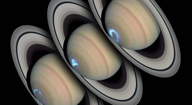 Three images of Saturn and its auroras