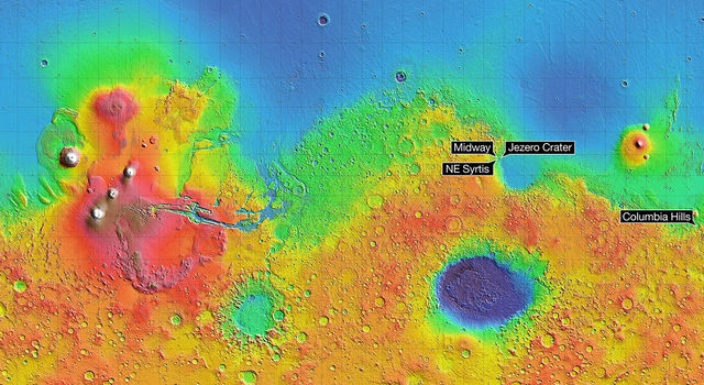 This Mars map depicts the final four locations