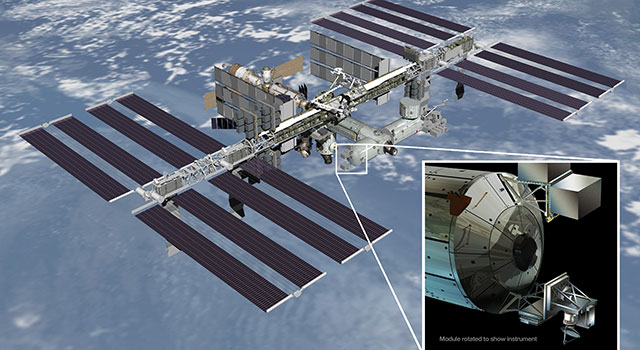 Artist's rendering of NASA's ISS-RapidScat instrument
