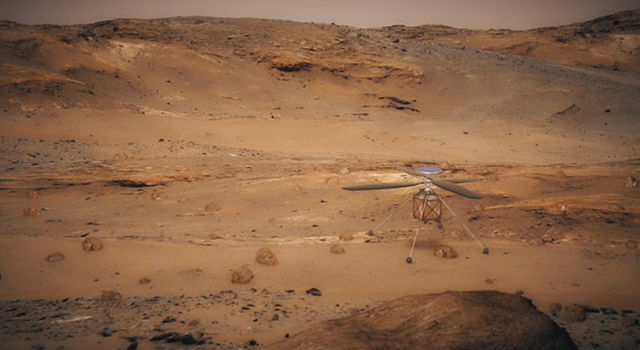 Artist's illustration of a helicopter on Mars
