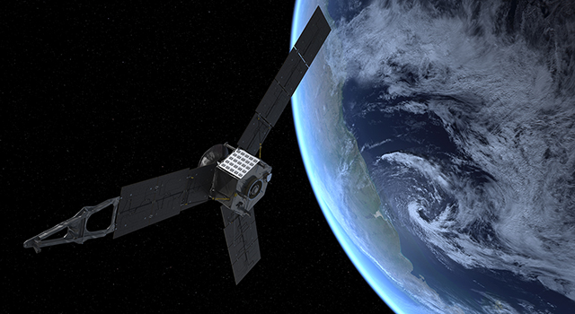 Artist's rendering of the Juno spacecraft approaching Earth on Oct. 9, 2013.