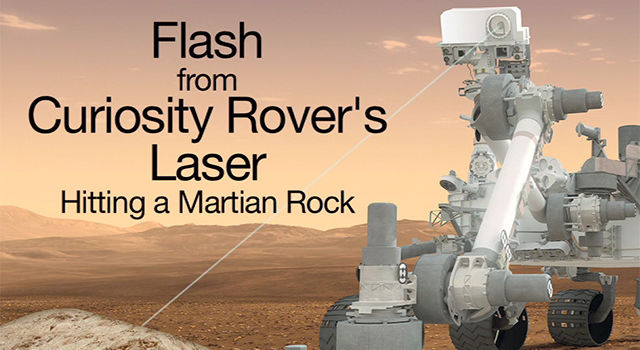 Flash from Curiosity Rover's Laser Hitting a Martian Rock