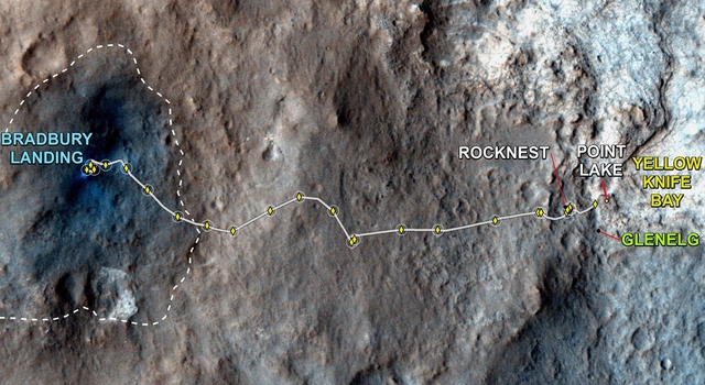 This map shows where NASA's Mars rover Curiosity has driven since landing at a site subsequently named 'Bradbury Landing,' and traveling to an overlook position near beside 'Point Lake,'