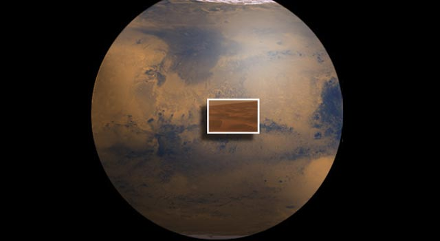Artist renditon of Mars and an image from Opportunity