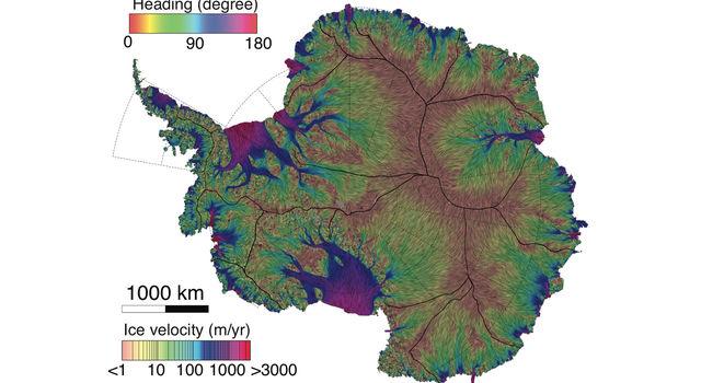 NASA/UC Irvine map of ice velocity in Antarctica
