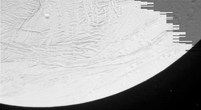 Enceladus, from Oct. 9, 2008 flyby