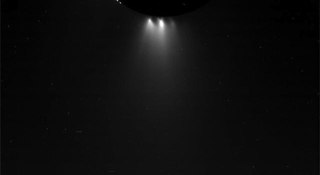 This unprocessed view of Saturn's moon Enceladus was acquired by NASA's Cassini spacecraft during a close flyby